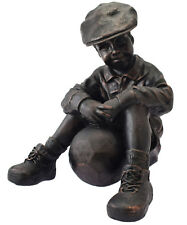 NEW Bronze Colour Boy with Ball Sitting Garden Statue Ornament Indoor or Outdoor