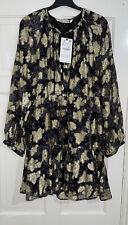Zara Negro Oro Metálico Threads estampado floral con volantes Flounce Vestido Talla XL