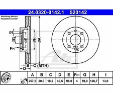 2 St. ATE 24.0320-0142.1 DISCO FRENO POWER DISC FIAT BRAVA TEMPRA s.w.a.k. tipo