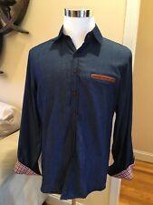 NWT, Jeansian Mens Denim Long Sleeve Casual Shirt, Slim Fit