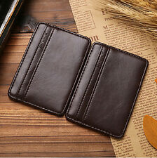 Chic Mens Leather Magic Money Clip Slim Wallet ID Credit Card Holder Case casual