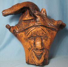 """Vintage Folk Art Hand Carved Grape Root ~ Artist Signed  Large 12"""" Elf"""