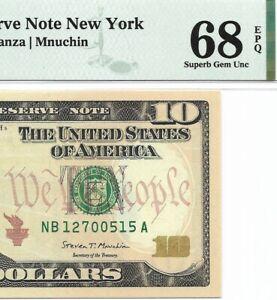 2017 $10 NEW YORK FRN, PMG SUPERB GEM UNCIRCULATED 68 EPQ BANKNOTE