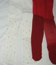 2x Baby Girls Tights Age 0-3 mths Red Sparkle & Ivory & Gold Stars. Xmas newborn