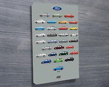 Ford 'RS Cars' - 30x20 Inch Canvas Art Focus Fiesta Sierra Escort Capri