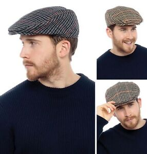Mens Traditional Style Cap Wool Blend Tweed Newsboy Gatsby Herringbone Flat Caps