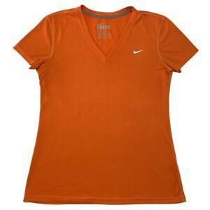 NIKE Dri-Fit Womens Regular Fit Shirt Athletic Run Gym Logo Orange Size Medium