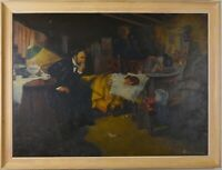 Original Antique James Clayborne Oil Painting of Doctor attending Sick Child