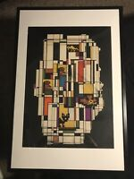 1961 DORIS SAENZ SIGNED MID-CENTURY ORIGINAL CUBIST PAINTING LISTED ARTIST FRAME