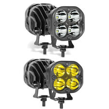 3Inch LED Cube Pods 2*Amber & 2*White Offroad Driving Lights Spot Work Light Bar