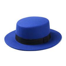 Women Boater Hat Bowler Sailor Wide Brim Flat Top Caps Unisex Wool Blend Outdoor