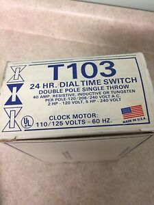 NEW T103 Series 40 Amp 125-Volt DPST 24-Hour Mechanical Time Switch Sealed