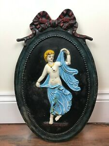 Vintage Painted Cast Iron Wall Plaque With a Semi Naked Lady 5.8 kg