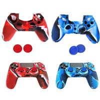 2 Silicone Skin Case Cover Protector & 4 Joystick Caps for Sony PS4 Control Kit