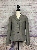 Ann Taylor Loft Womens Brown Tweed Wool Blend Blazer Size 10