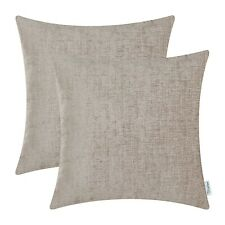 """2Pcs Taupe Cushion Covers Pillows Shells Solid Dyed Soft Chenille Decor 16 x 16"""""""