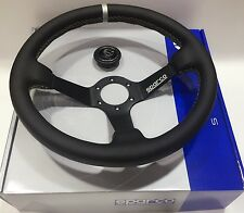 340mm Leather Deep Dish Steering Wheel SPC MOMO Racing OMP Drifting Grey Strip A