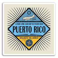 2 x 10cm Puerto Rico Vinyl Stickers - Retro Travel Sticker Laptop Luggage #18104