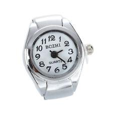 Unisex Quartz Alloy Round White Dial Arabic Numerals Ring Watch Silver O7N5