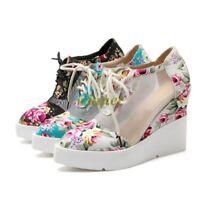 Womens Flowers Print Mesh Platform Wedge Heels Lace Up Punk Goth Shoes Sneakers