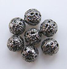 150pcs 6mm Round Metal Ironwork Filigree Spacers - Dark Silver