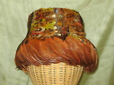 Vintage 1950's Union Made Feather Cloche Ladies Hat
