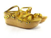 Miu Miu Beige Metallic Leather Wedge Pumps, Women's shoe size US 7.5/EU 37.5