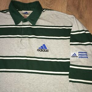 """Adidas vintage 90s Logo Line """"as Equipment"""" Rugby Long Sleeve Polo Shirt size M"""