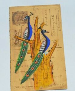 A LOVELY OLD RAJASTHAN MINIATURE PAINTING INDIAN POSTCARD OF A PEACOCKS  82