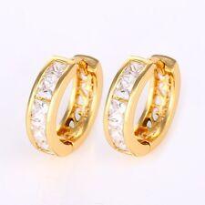 24k Yellow Gold Filled Women's Earrings CZ 15mm Luxury Hoops Charm Jewelry