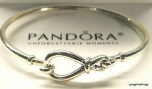 Genuine PANDORA Sterling Silver INFINITY KNOT BANGLE BRACELET 18cm 598893C00 ALE