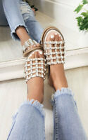 IKRUSH Womens Stella Studded Caged Open Toe Sliders
