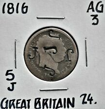 1816 Great Britain Shilling counterstamped w / 5 J's