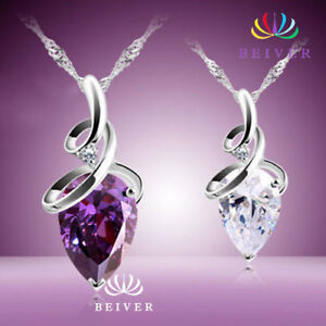 Luxury Clear or purple  White  Drop White Gold Filled, pendant necklace