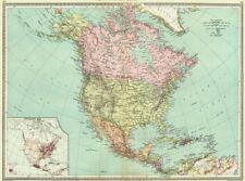 NORTH AMERICA. map of population 1907 old antique vintage plan chart