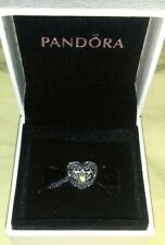 Authentic Pandora Citrine Birthstone Heart Bead, New in the Box, Sterling Silver