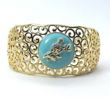 Richard Simmons Dove of Peace White Crystal Gold-Tn CUFF BRACELET   NEW!