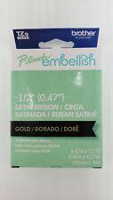 "Brother™ P-touch EmbellishTapeTZe Gold on Black Satin Ribbon 1/2"" Arts Craft NEW"