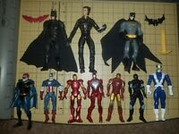 Lot of 10 Super Hero IRON MAN BATMAN CAPT. AMERICA etc Action Figures & extras