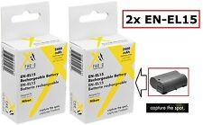 2 Pcs Hi Capacity EN-EL15 Li-Ion Battery for Nikon 1 V1 (Qty 2)