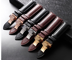 Genuine Leather Calfskin Watchband Strap Butterfly Buckle 18mm 20mm 22mm 24mm