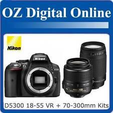 New NIKON D5300 18-55 VR II+70-300mm Twin Kits+32GB+Gift 24MP DSLR 1 Year Au Wty