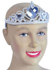 Princess Silver Plastic Tiara Clear Jewel Crown Womens Fancy Dress Girls New