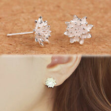 Lady's Plated Silve Lotus Flower Ear Stud Earrings New Style Exquisite Gifts