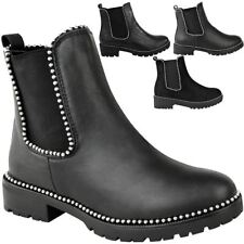 Womens Studded Chunky Chelsea Biker Rocker Ladies Flat Ankle Boot Shoe Size
