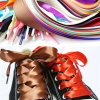 1Pair Wide Shoelaces Flat Silk Satin Ribbon Sport Shoes Sneakers Shoestrings Hot