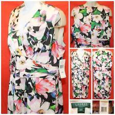 NWT Lauren Ralph Lauren 22W White Multicolor Floral Faux Wrap Hawaiian Dress