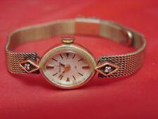 NEAR MINT VINTAGE SOLID 14K GOLD DIAMONDS LADIES WOMENS BULOVA 23 JEWEL WATCH