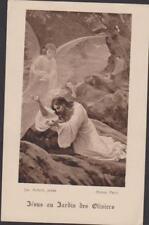 IMAGE PIEUSE HOLY CARD SANTINI JESUS AU JARDIN DES OLIVIERS-ECOLE ST COLOMBAN