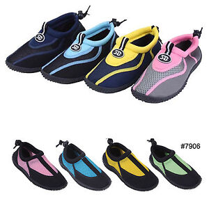 New Childrens Kids Boys Girls Slip On Water Shoes/Aqua Socks/Pool Beach,4 Colors